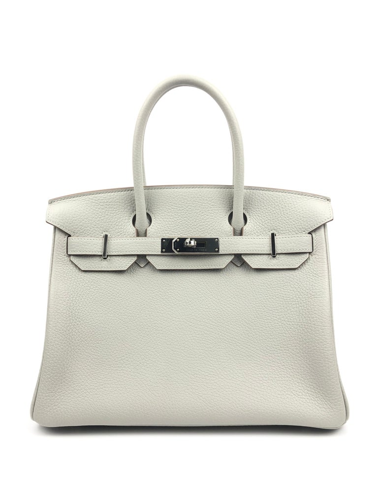 New Hermes Birkin 30 Gris Perle Pearl Gray Palladium Hardware. C Stamp 2018. From collectors closet Has been displayed but never carried out.  Shop with Confidence from Lux Addicts. Authenticity Guaranteed!