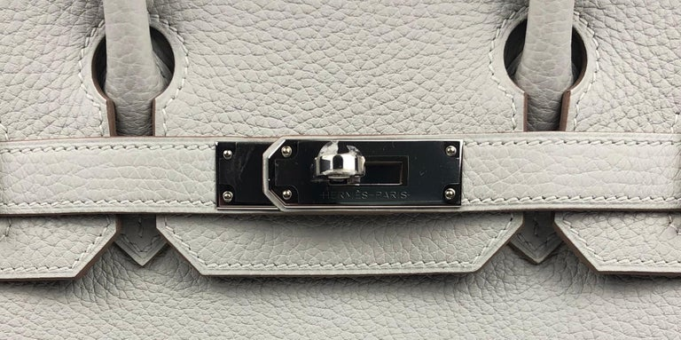 Women's or Men's Hermès Birkin 30 Gris Perle Pearl Gray Palladium Hardware 2018  For Sale