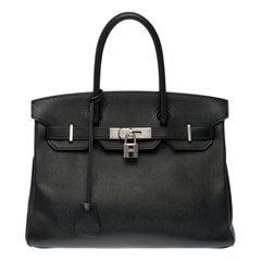 Hermès Birkin 30 handbag in black epsom leather and silver Palladium hardware