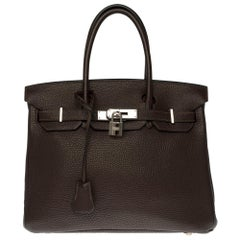 Hermès Birkin 30 handbag in Brown Togo leather, silver Palladium hardware