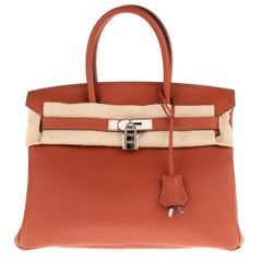 Hermès Birkin 30 handbag in Togo color Cuivre with Palladium silver hardware