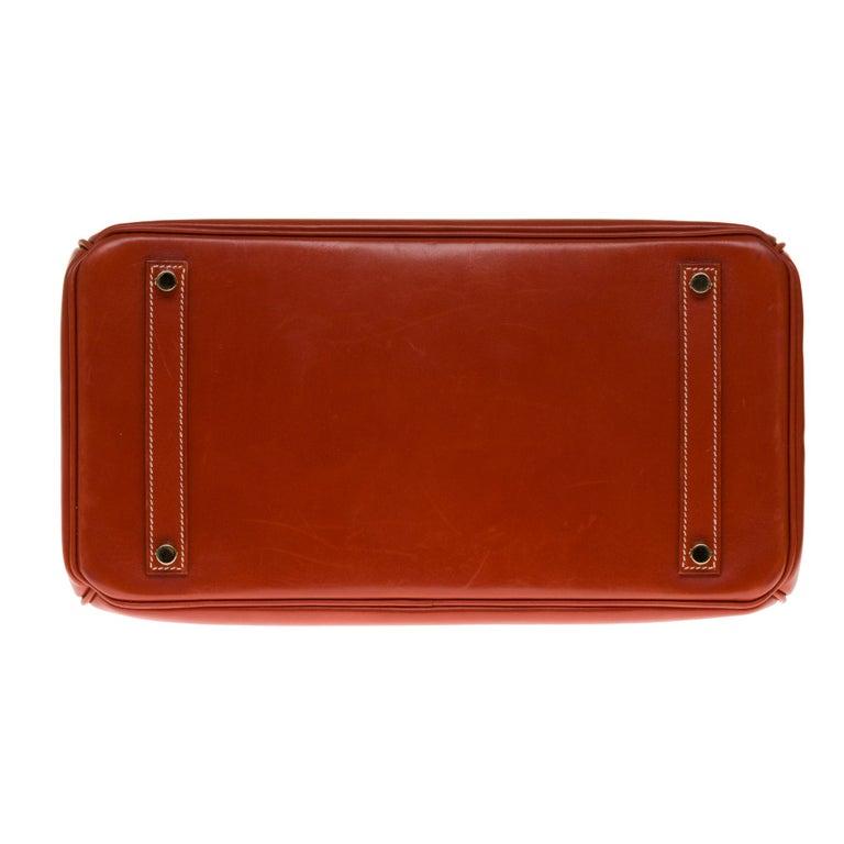 RARE Hermès Birkin 30 handbag in brick box calf leather and gold hardware For Sale 5