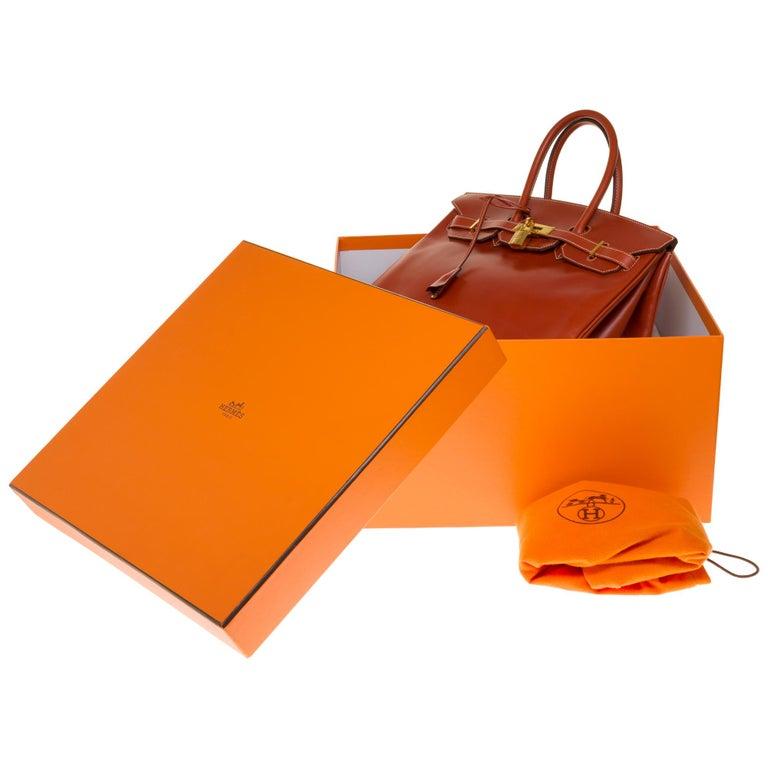 RARE Hermès Birkin 30 handbag in brick box calf leather and gold hardware For Sale 7