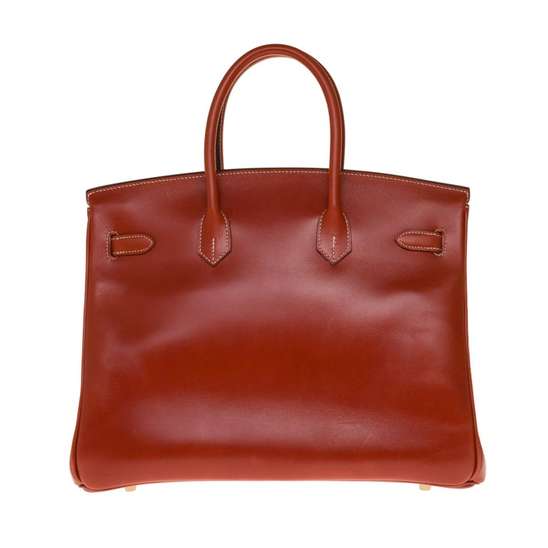 Exceptional & Rare handbag Hermes Birkin 30 cm in brick calfskin box leather with white stitching, gold plated metal hardware, double handle in leather box brick allowing a handheld  Flap closure Inner lining in brick leather, one zip pocket, one