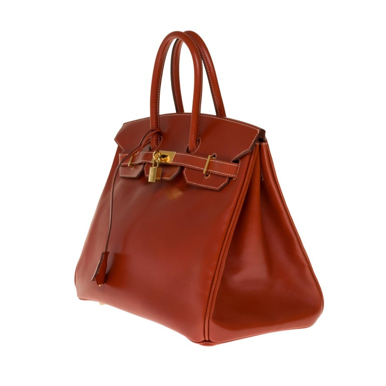 Orange RARE Hermès Birkin 30 handbag in brick box calf leather and gold hardware For Sale