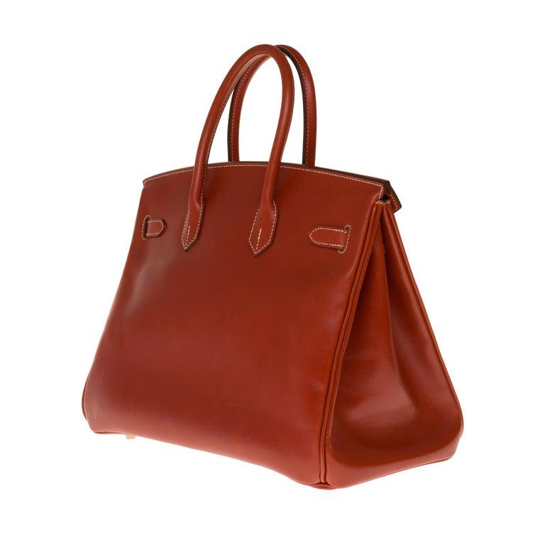 RARE Hermès Birkin 30 handbag in brick box calf leather and gold hardware In Excellent Condition For Sale In Paris, Paris