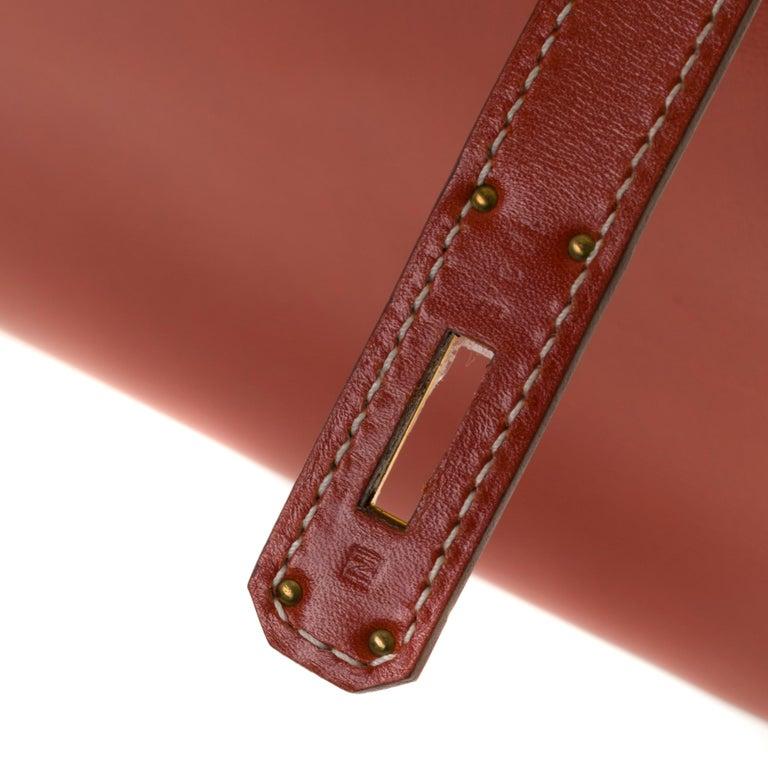 RARE Hermès Birkin 30 handbag in brick box calf leather and gold hardware For Sale 1