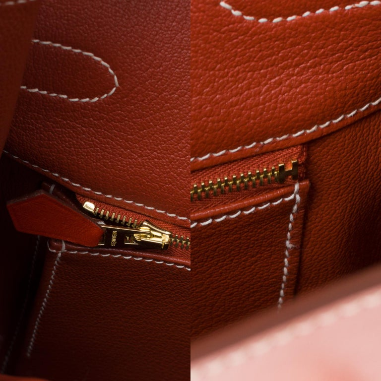 RARE Hermès Birkin 30 handbag in brick box calf leather and gold hardware For Sale 2