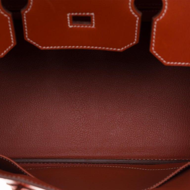RARE Hermès Birkin 30 handbag in brick box calf leather and gold hardware For Sale 3