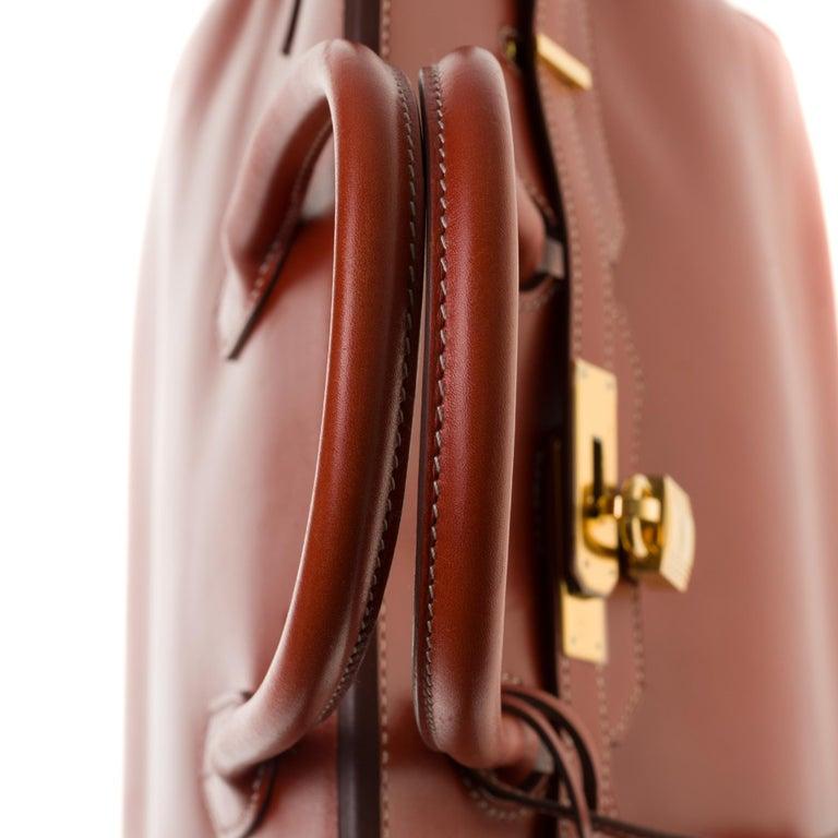 RARE Hermès Birkin 30 handbag in brick box calf leather and gold hardware For Sale 4