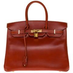 RARE Hermès Birkin 30 handbag in brick box calf leather and gold hardware