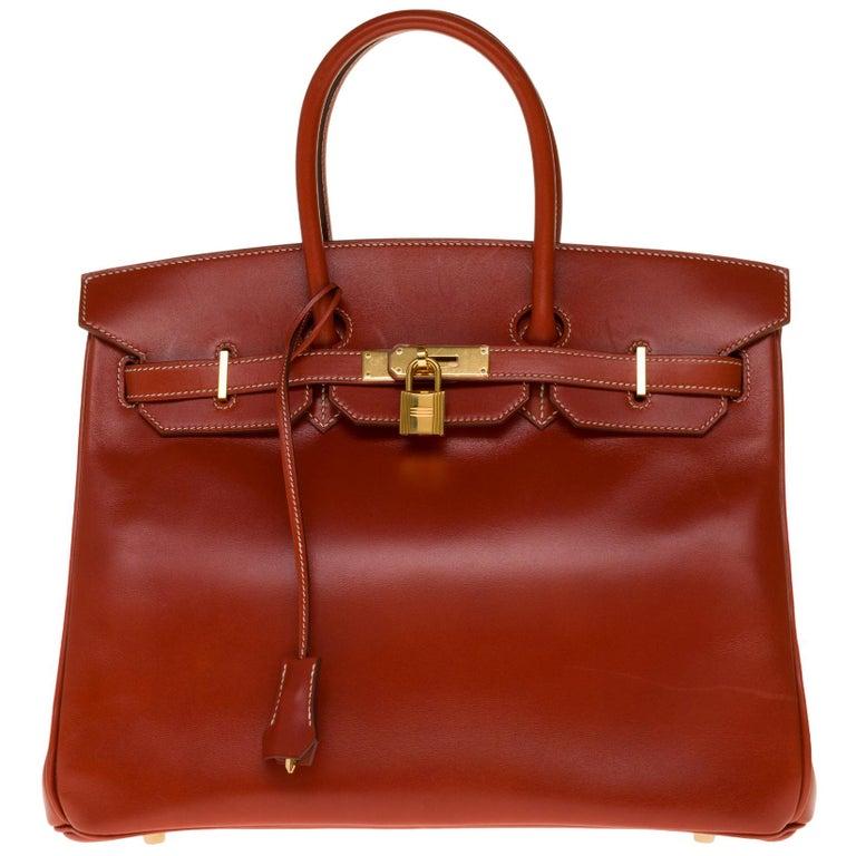 RARE Hermès Birkin 30 handbag in brick box calf leather and gold hardware For Sale