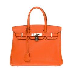 Hermès Birkin 30 handbag in Togo orange leather, PHW, new condition