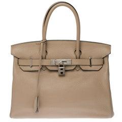 Hermès Birkin 30 handbag in Trench Togo leather, silver Palladium hardware