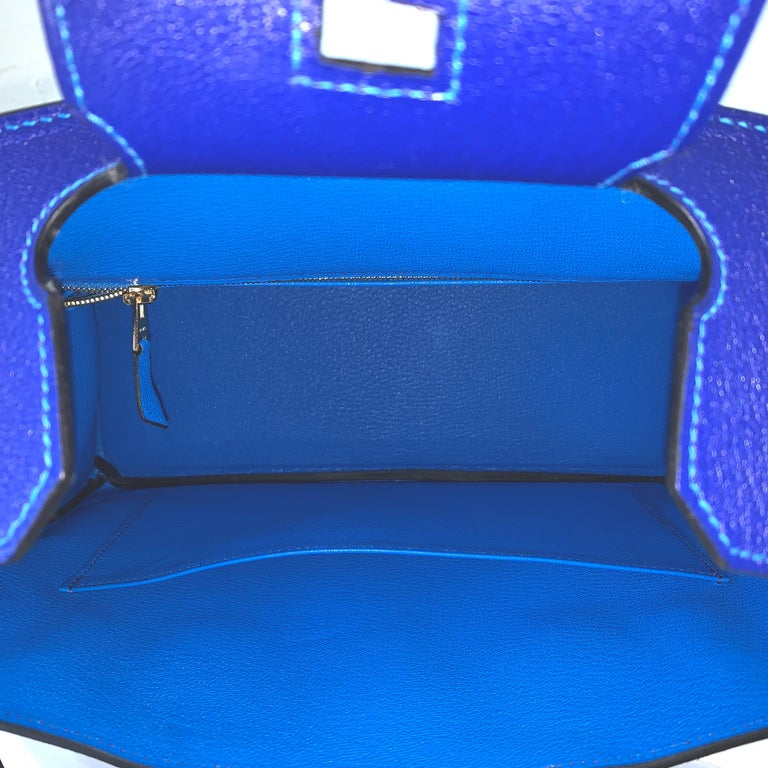 This Special Order VIP Birkin is in Blue Electric and Blue Hydra  Chevre leather with brushed gold hardware  Chevre leather, the most durable, which is why it is highly coveted by the collectors Chevre is also a nice light weight leather , another