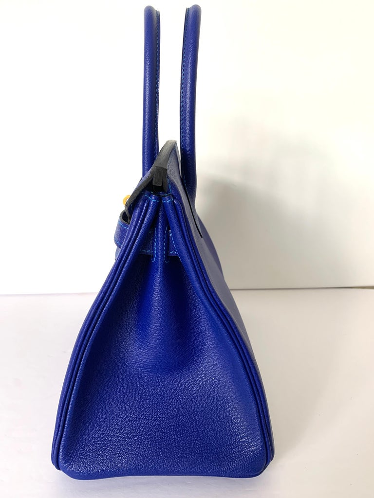 Hermes Birkin 30 HSS Blue Electric with Blue Hydra Contrast Stitch Brush Gold In New Condition For Sale In Delray Beach, FL