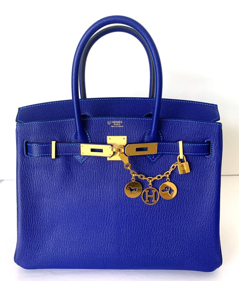 Hermes Birkin 30 HSS Blue Electric with Blue Hydra Contrast Stitch Brush Gold For Sale 2