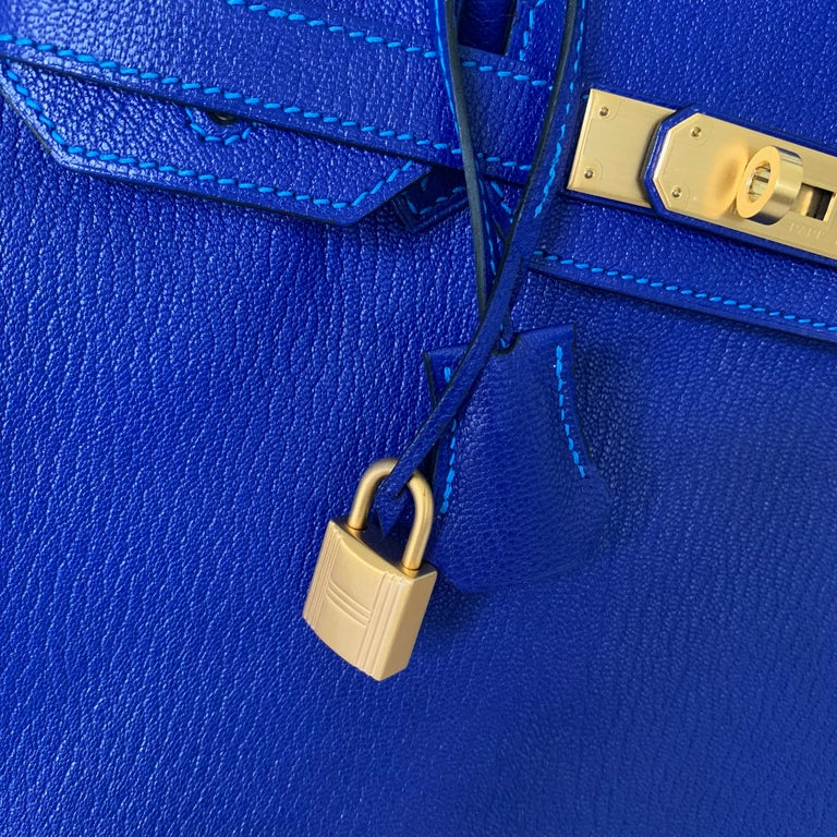 Hermes Birkin 30 HSS Blue Electric with Blue Hydra Contrast Stitch Brush Gold For Sale 3