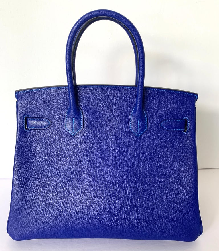 Hermes Birkin 30 HSS Blue Electric with Blue Hydra Contrast Stitch Brush Gold For Sale 4