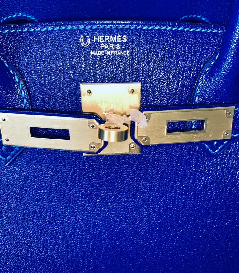 Hermes Birkin 30 HSS Blue Electric with Blue Hydra Contrast Stitch Brush Gold For Sale 5