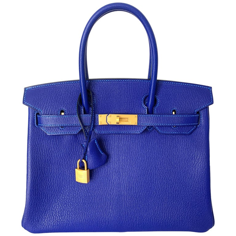Hermes Birkin 30 HSS Blue Electric with Blue Hydra Contrast Stitch Brush Gold For Sale