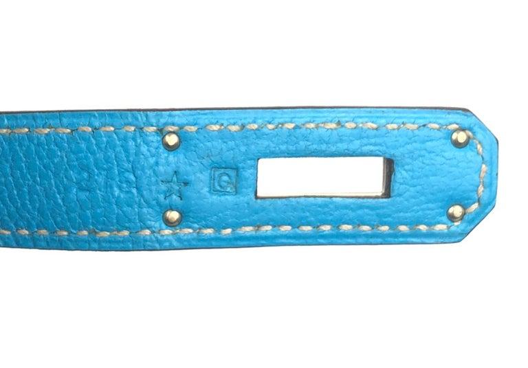 Hermes Birkin 30 HSS Special Order Blue Aztec Gris Tourterelle Chèvre Leather For Sale 6