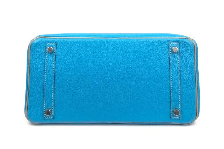 Hermes Birkin 30 HSS Special Order Blue Aztec Gris Tourterelle Chèvre Leather For Sale 7