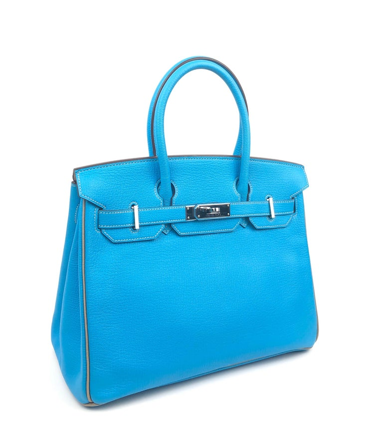 Hermes Birkin 30 HSS Special Order Blue Aztec Gris Tourterelle Chèvre Leather. Excellent condition, light hairlines on hardware, excellent structure. O Stamp 2011. *Missing Clochette.  Shop with Confidence from Lux Addicts. Authenticity Guaranteed!