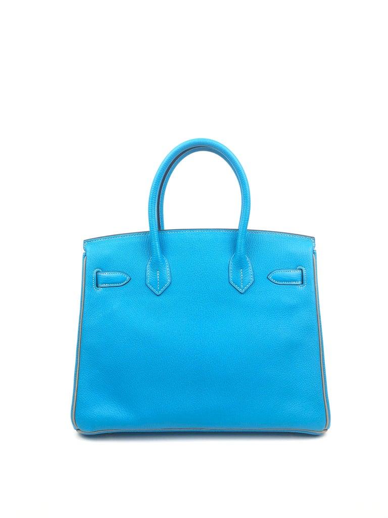 Women's or Men's Hermes Birkin 30 HSS Special Order Blue Aztec Gris Tourterelle Chèvre Leather For Sale