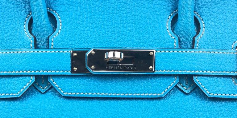 Hermes Birkin 30 HSS Special Order Blue Aztec Gris Tourterelle Chèvre Leather For Sale 1