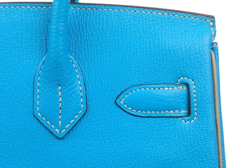Hermes Birkin 30 HSS Special Order Blue Aztec Gris Tourterelle Chèvre Leather For Sale 2