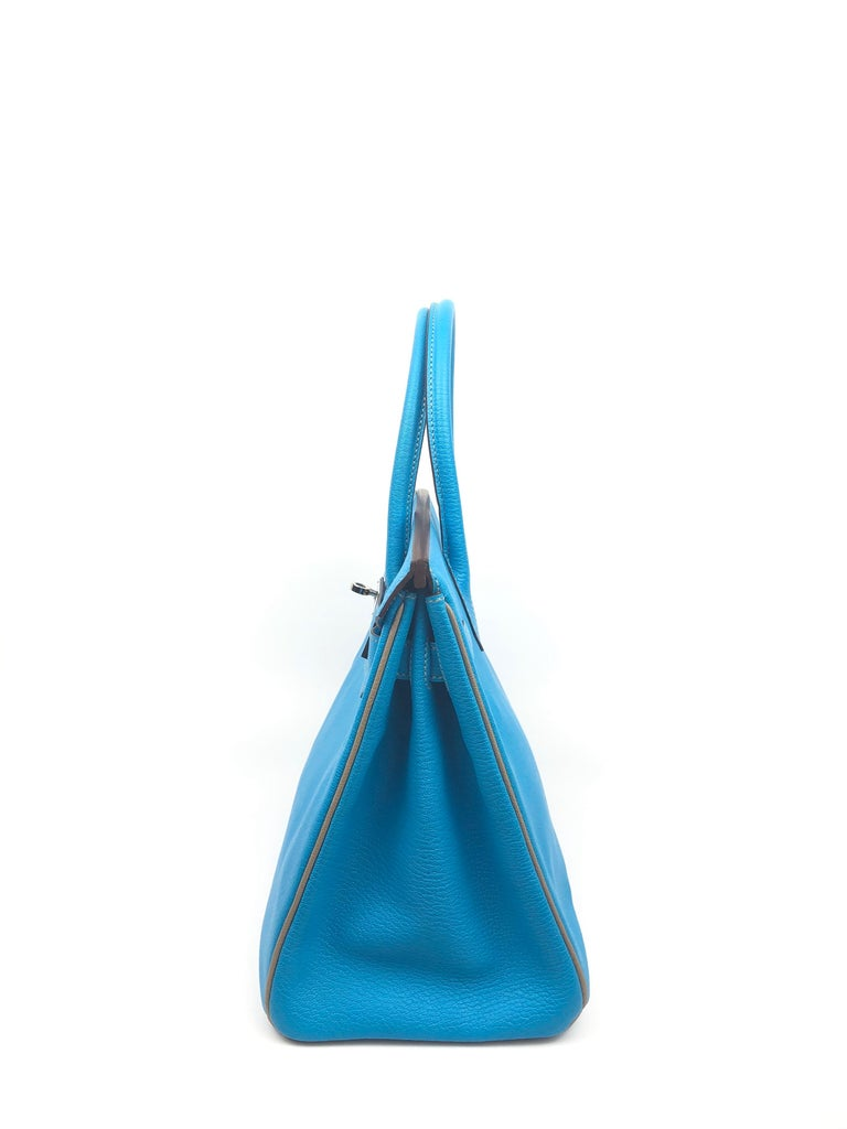 Hermes Birkin 30 HSS Special Order Blue Aztec Gris Tourterelle Chèvre Leather For Sale 4