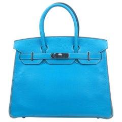 Hermes Birkin 30 HSS Special Order Blue Aztec Gris Tourterelle Chèvre Leather