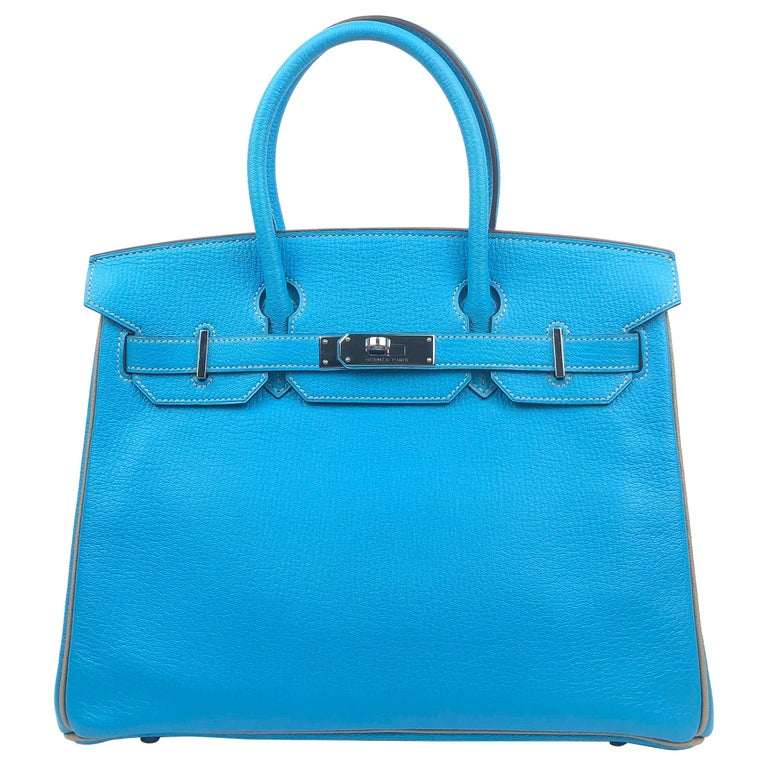Hermes Birkin 30 HSS Special Order Blue Aztec Gris Tourterelle Chèvre Leather For Sale