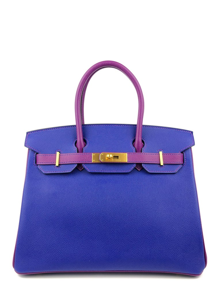 Like New Rare Hermes Birkin 30 HSS Special Order Blue Electric Anemone Purple Epsom Leather Brushed Gold Hardware.   Shop with Confidence from Lux Addicts. Authenticity Guaranteed!