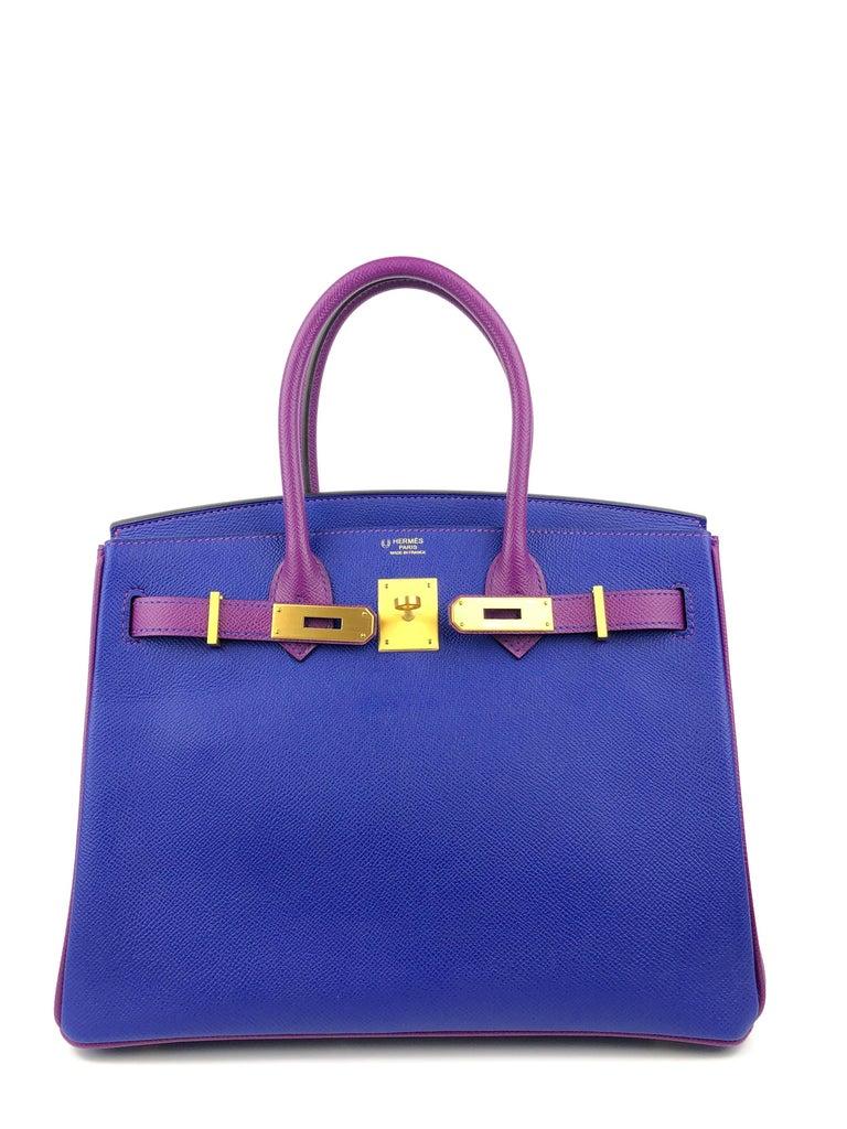 Purple Hermes Birkin 30 HSS Special Order Blue Electric Anemone Brushed Gold Hardware  For Sale