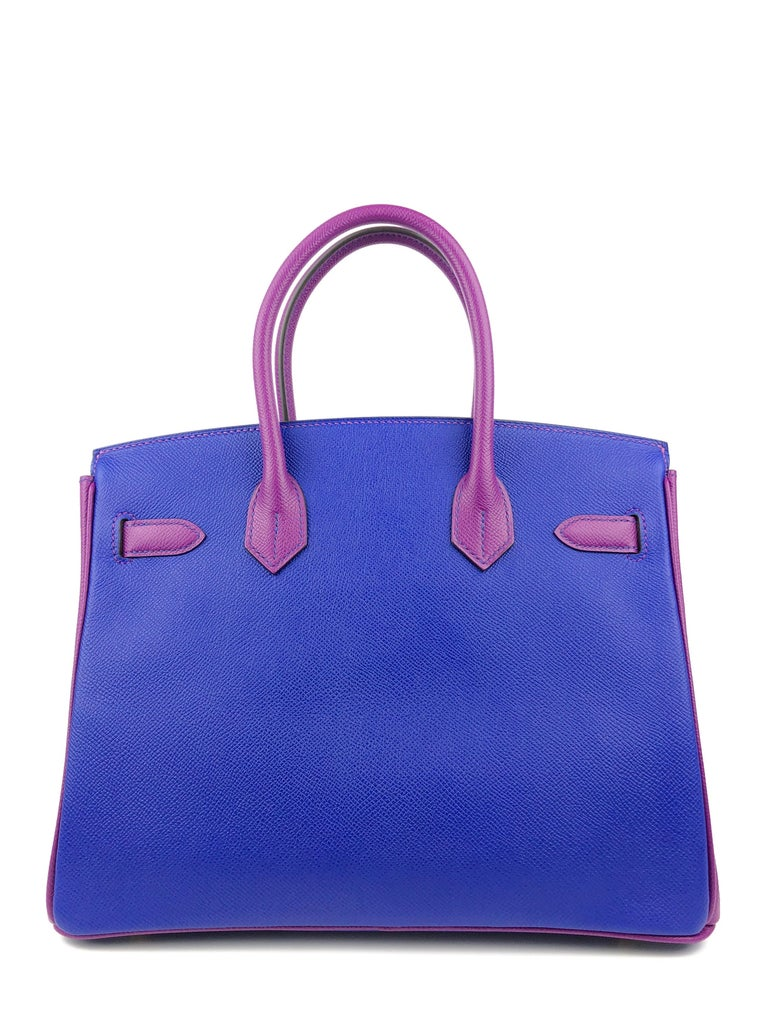 Hermes Birkin 30 HSS Special Order Blue Electric Anemone Brushed Gold Hardware  In New Condition For Sale In Miami, FL