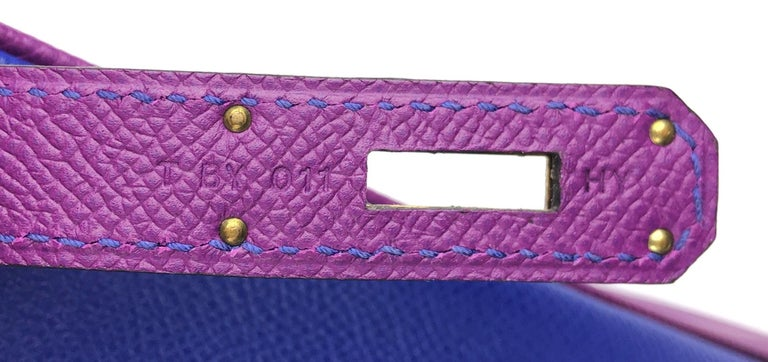 Hermes Birkin 30 HSS Special Order Blue Electric Anemone Brushed Gold Hardware  For Sale 4