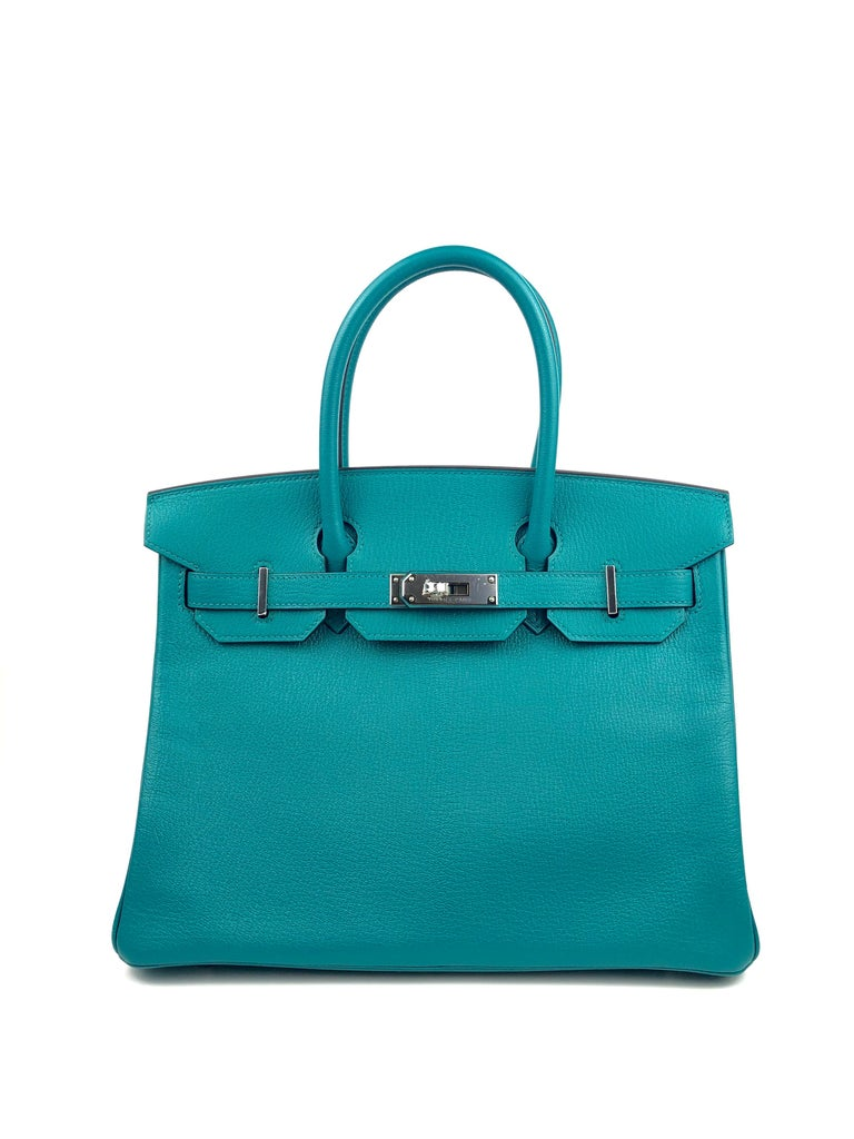 New Hermes Birkin 30 HSS Special Order Bleu Paon Mysore Chèvre Palladium Hardware. C Stamp 2018. From collectors closet has been displayed but never carried out.  Shop with Confidence from Lux Addicts. Authenticity Guaranteed!