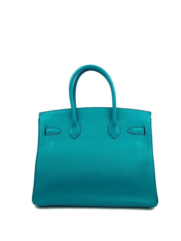 Women's or Men's Hermes Birkin 30 HSS Special Order Blue Paon Chèvre Mysore Palladium Hwr 2018 For Sale
