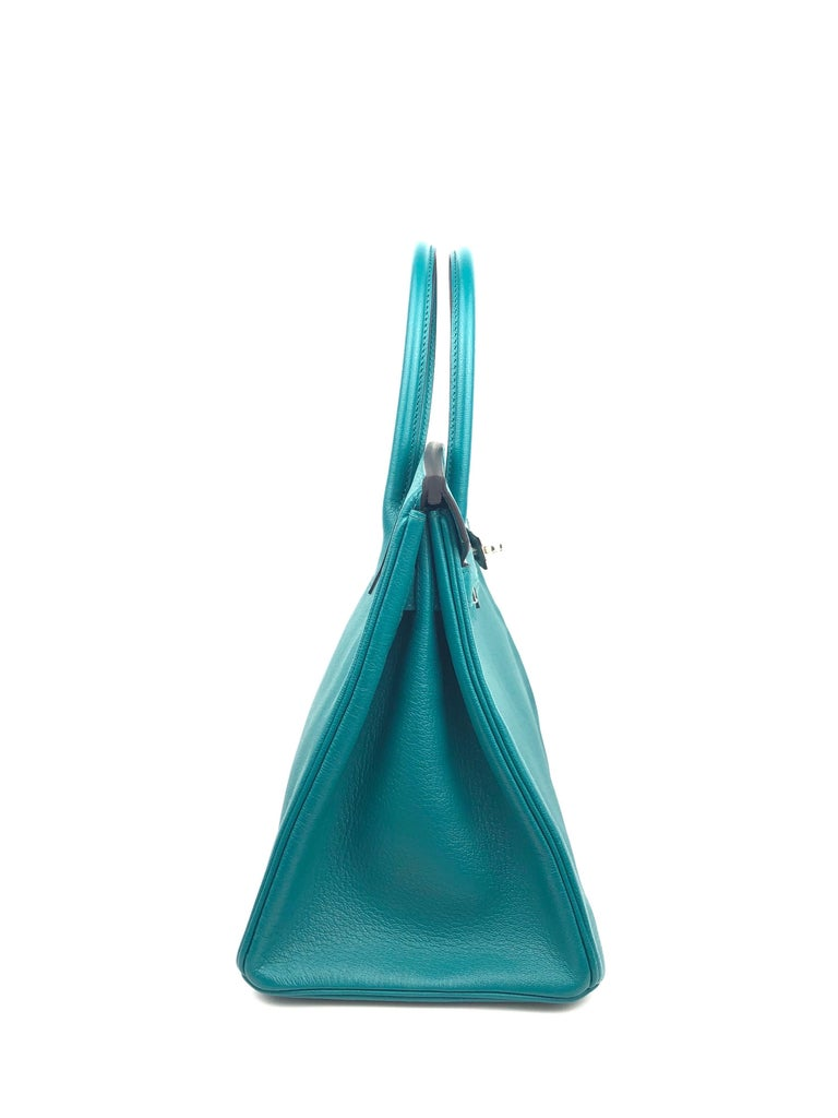 Hermes Birkin 30 HSS Special Order Blue Paon Chèvre Mysore Palladium Hwr 2018 For Sale 3