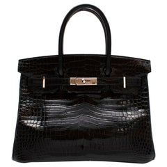 Hermès Birkin 30 in Black Lisse Porosus Crocodile PHW