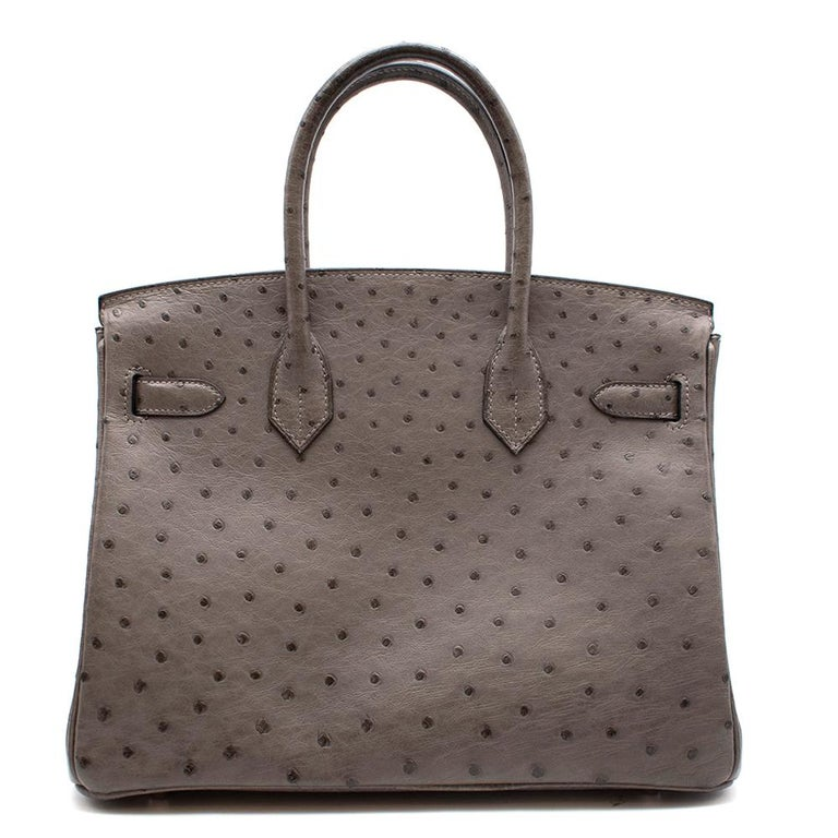 Hermès Birkin 30 in Etain Ostrich Leather with Palladium Hardware.  2010  Includes small Dust Bag and Clochette, Lock and Keys.  Size: 30  32 cm x 22 cm x 16 cm