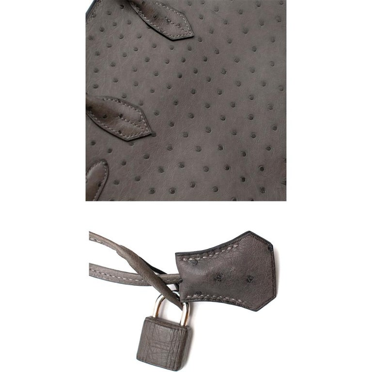 Hermès Birkin 30 in Etain Ostrich Leather PHW For Sale 3