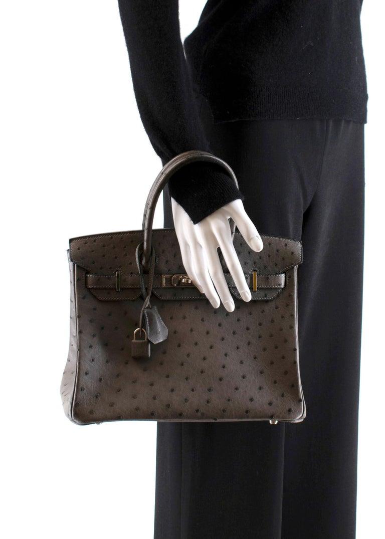 Hermès Birkin 30 in Etain Ostrich Leather PHW For Sale 4