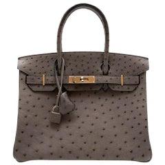 Hermès Birkin 30 in Etain Ostrich Leather PHW