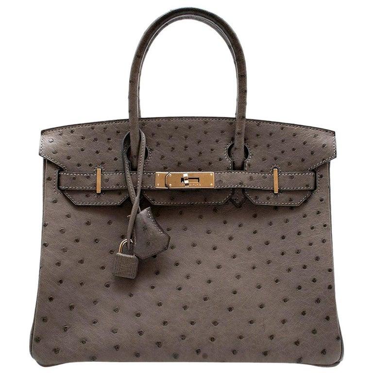 Hermès Birkin 30 in Etain Ostrich Leather PHW For Sale