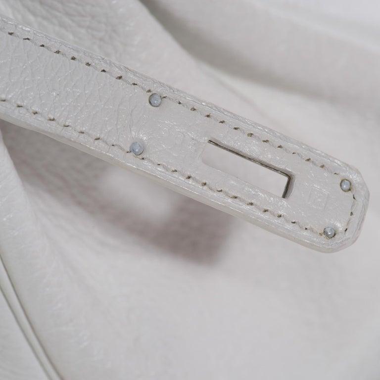 Hermes Birkin 30 in white Togo leather, Palladium Hardware, excellent condition! For Sale 5