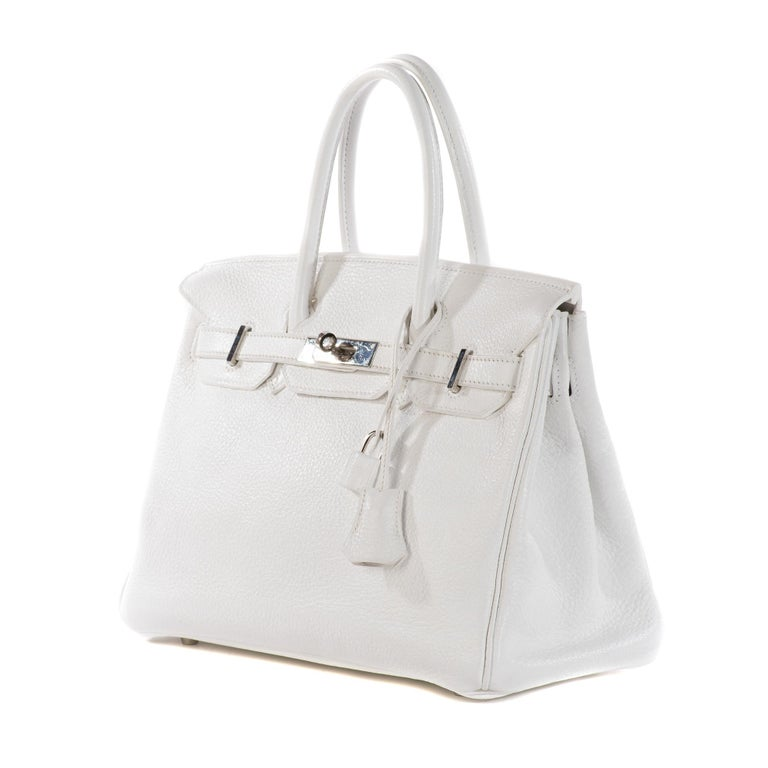 Gray Hermes Birkin 30 in white Togo leather, Palladium Hardware, excellent condition! For Sale