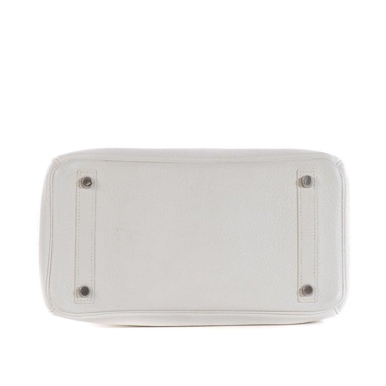 Hermes Birkin 30 in white Togo leather, Palladium Hardware, excellent condition! For Sale 1